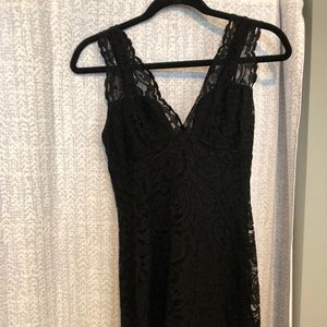 Fitted Black Lace Mini Topshop Dress